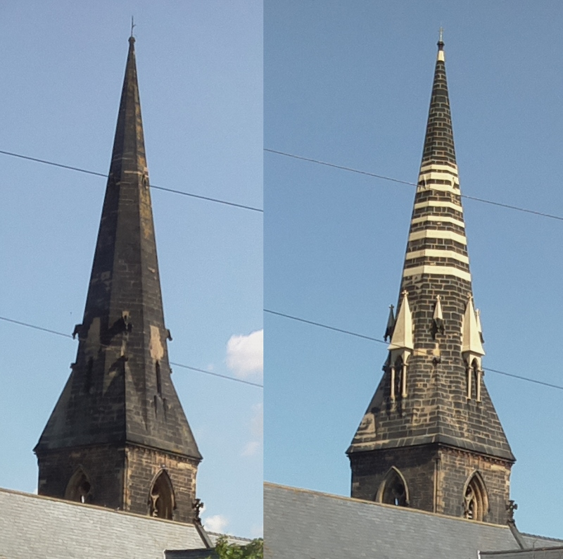 St James Spire - before and after